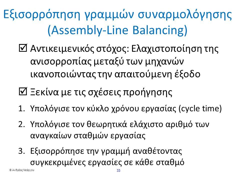 © Ανδρέας Νεάρχου 33 Εξισορρόπηση γραμμών συναρμολόγησης (Assembly-Line Balancing)  Αντικειμενικός στόχος: Ελαχιστοποίηση της ανισορροπίας μεταξύ των μηχανών ικανοποιώντας την απαιτούμενη έξοδο  Ξεκίνα με τις σχέσεις προήγησης 1.Υπολόγισε τον κύκλο χρόνου εργασίας (cycle time) 2.Υπολόγισε τον θεωρητικά ελάχιστο αριθμό των αναγκαίων σταθμών εργασίας 3.Εξισορρόπησε την γραμμή αναθέτοντας συγκεκριμένες εργασίες σε κάθε σταθμό