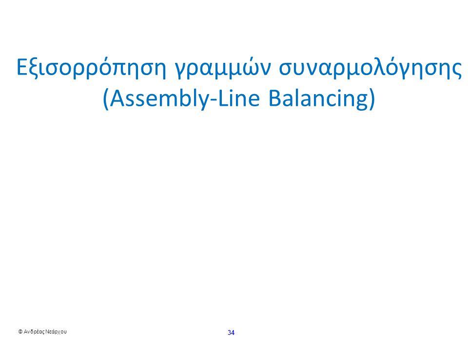 © Ανδρέας Νεάρχου 34 Εξισορρόπηση γραμμών συναρμολόγησης (Assembly-Line Balancing)