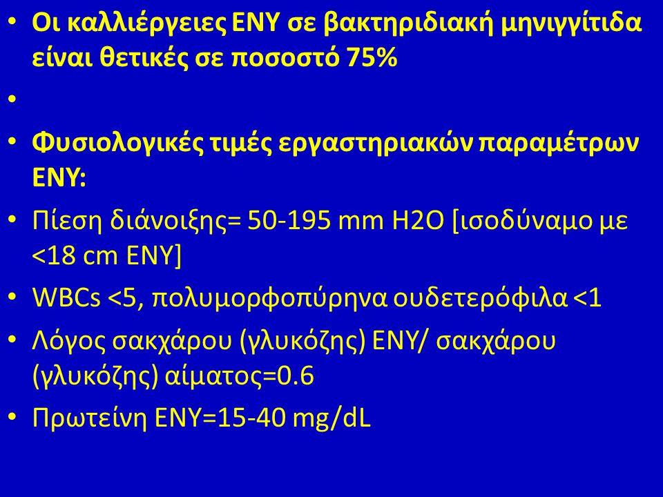 Οι καλλιέργειες ΕΝΥ σε βακτηριδιακή μηνιγγίτιδα είναι θετικές σε ποσοστό 75% Φυσιολογικές τιμές εργαστηριακών παραμέτρων ΕΝΥ: Πίεση διάνοιξης= 50-195 mm H2O [ισοδύναμο με <18 cm ΕΝΥ] WBCs <5, πολυμορφοπύρηνα ουδετερόφιλα <1 Λόγος σακχάρου (γλυκόζης) ΕΝΥ/ σακχάρου (γλυκόζης) αίματος=0.6 Πρωτείνη ΕΝΥ=15-40 mg/dL
