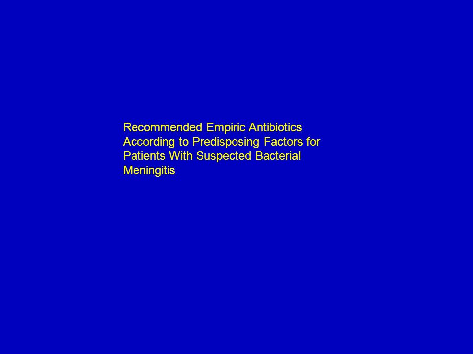 Recommended Empiric Antibiotics According to Predisposing Factors for Patients With Suspected Bacterial Meningitis