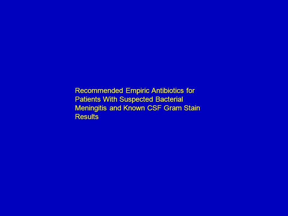 Recommended Empiric Antibiotics for Patients With Suspected Bacterial Meningitis and Known CSF Gram Stain Results