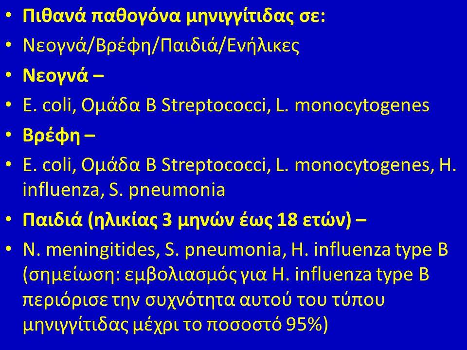 Πιθανά παθογόνα μηνιγγίτιδας σε: Νεογνά/Βρέφη/Παιδιά/Ενήλικες Νεογνά – E.