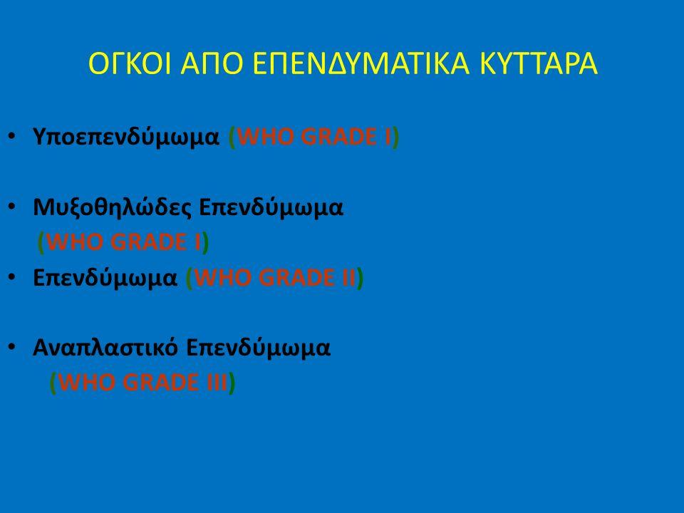 ΟΓΚΟΙ ΑΠΟ ΕΠΕΝΔΥΜΑΤΙΚΑ ΚΥΤΤΑΡΑ Υποεπενδύμωμα (WHO GRADE I) Μυξοθηλώδες Επενδύμωμα (WHO GRADE I) Επενδύμωμα (WHO GRADE II) Αναπλαστικό Επενδύμωμα (WHO GRADE III)