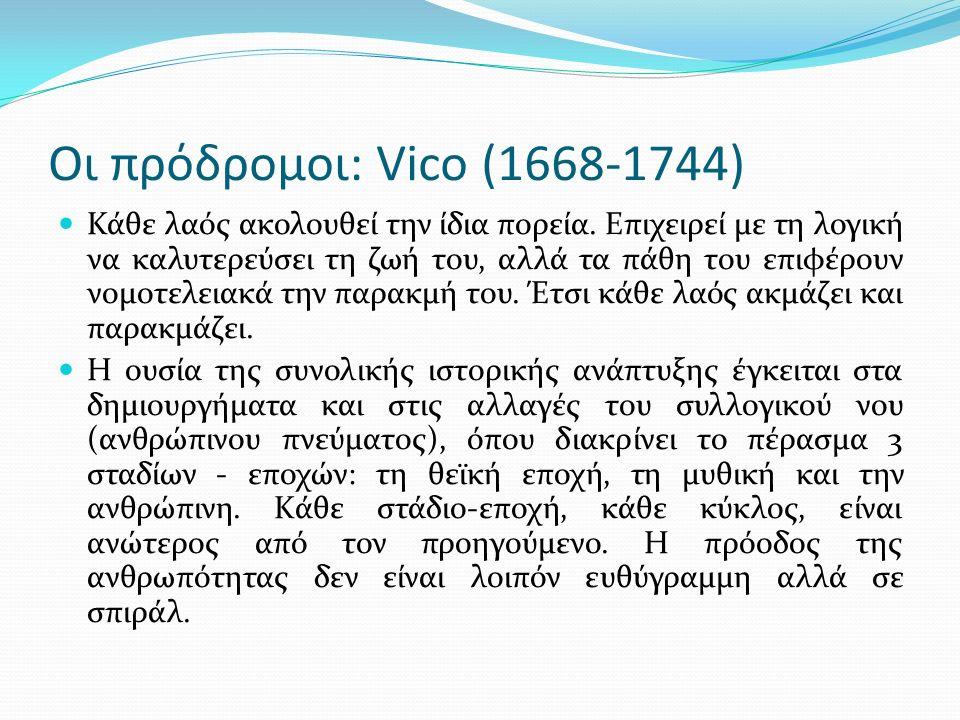 Οι πρόδρομοι: Vico (1668-1744) Κάθε λαός ακολουθεί την ίδια πορεία.
