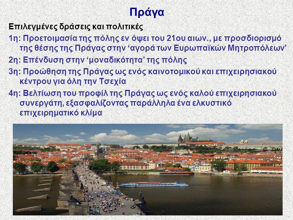 Πράγα Επιλεγμένες δράσεις και πολιτικές 1η: Προετοιμασία της πόλης εν όψει του 21ου αιων., με προσδιορισμό της θέσης της Πράγας στην 'αγορά των Ευρωπαϊκών Μητροπόλεων' 2η: Επένδυση στην 'μοναδικότητα' της πόλης 3η: Προώθηση της Πράγας ως ενός καινοτομικού και επιχειρησιακού κέντρου για όλη την Τσεχία 4η: Βελτίωση του προφίλ της Πράγας ως ενός καλού επιχειρησιακού συνεργάτη, εξασφαλίζοντας παράλληλα ένα ελκυστικό επιχειρηματικό κλίμα