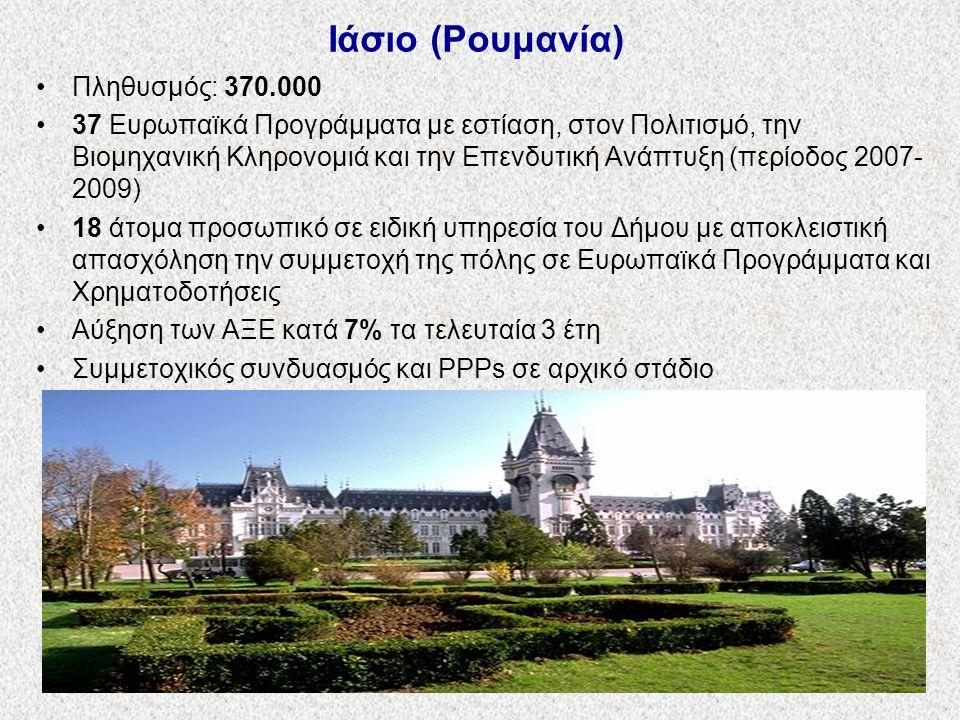 Ιάσιο (Ρουμανία) Πληθυσμός: 370.000 37 Ευρωπαϊκά Προγράμματα με εστίαση, στον Πολιτισμό, την Βιομηχανική Κληρονομιά και την Επενδυτική Ανάπτυξη (περίοδος 2007- 2009) 18 άτομα προσωπικό σε ειδική υπηρεσία του Δήμου με αποκλειστική απασχόληση την συμμετοχή της πόλης σε Ευρωπαϊκά Προγράμματα και Χρηματοδοτήσεις Αύξηση των ΑΞΕ κατά 7% τα τελευταία 3 έτη Συμμετοχικός συνδυασμός και PPPs σε αρχικό στάδιο