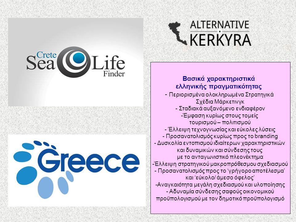 Βασικά χαρακτηριστικά ελληνικής πραγματικότητας - Περιορισμένα ολοκληρωμένα Στρατηγικά Σχέδια Μάρκετινγκ - Σταδιακά αυξανόμενο ενδιαφέρον -Έμφαση κυρίως στους τομείς τουρισμού – πολιτισμού - Έλλειψη τεχνογνωσίας και εύκολες λύσεις - Προσανατολισμός κυρίως προς το branding - Δυσκολία εντοπισμού ιδιαίτερων χαρακτηριστικών και δυναμικών και σύνδεσης τους με το ανταγωνιστικό πλεονέκτημα -Έλλειψη στρατηγικού μακροπρόθεσμου σχεδιασμού - Προσανατολισμός προς το 'γρήγορο αποτέλεσμα' και 'εύκολο/ άμεσο όφελος' -Αναγκαιότητα μεγάλη σχεδιασμού και υλοποίησης - Αδυναμία σύνδεσης σαφούς οικονομικού προϋπολογισμού με τον δημοτικό προϋπολογισμό