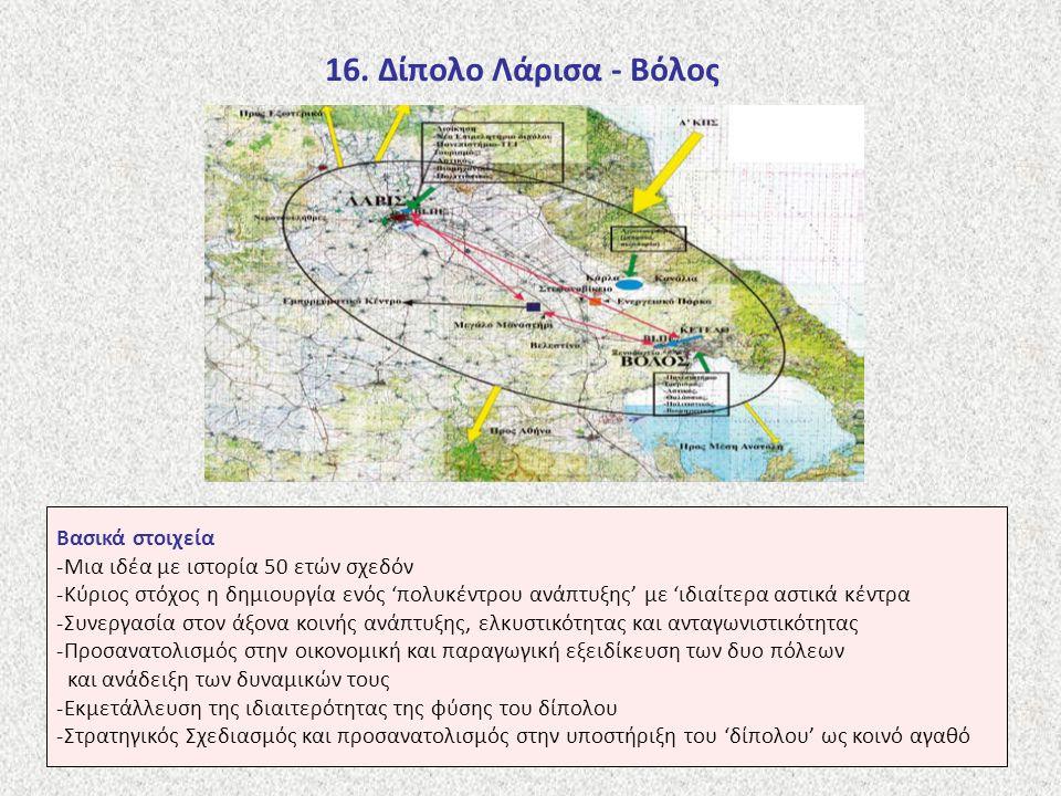 16. Δίπολο Λάρισα - Βόλος Βασικά στοιχεία -Μια ιδέα με ιστορία 50 ετών σχεδόν -Κύριος στόχος η δημιουργία ενός 'πολυκέντρου ανάπτυξης' με 'ιδιαίτερα α