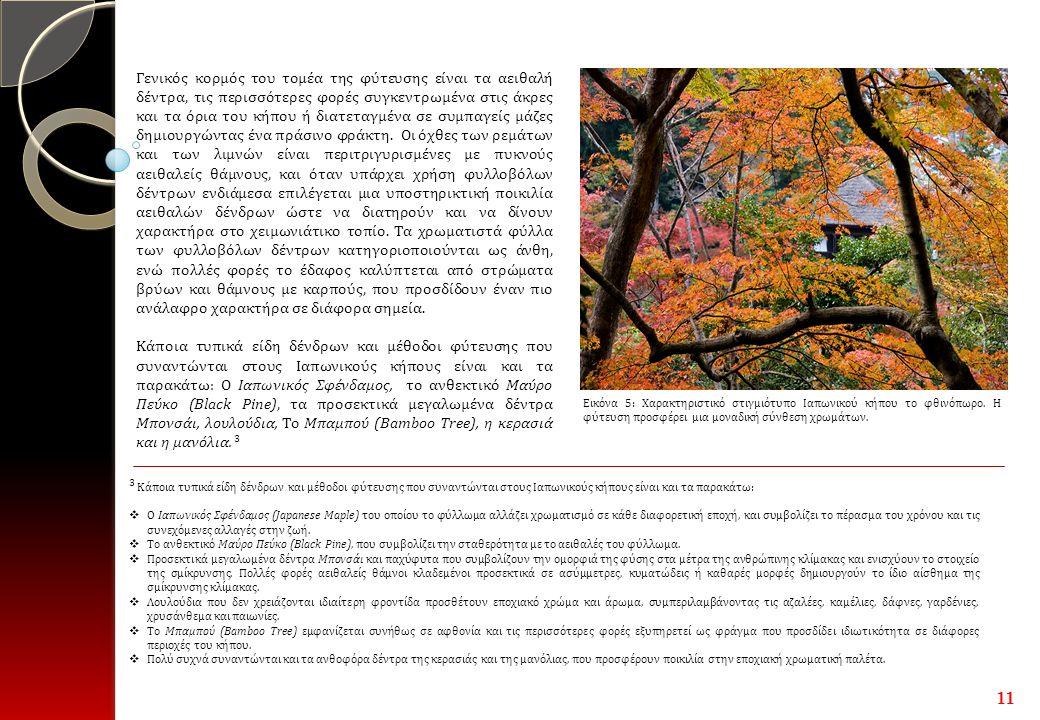3 Κάποια τυπικά είδη δένδρων και μέθοδοι φύτευσης που συναντώνται στους Ιαπωνικούς κήπους είναι και τα παρακάτω:  Ο Ιαπωνικός Σφένδαμος (Japanese Maple) του οποίου το φύλλωμα αλλάζει χρωματισμό σε κάθε διαφορετική εποχή, και συμβολίζει το πέρασμα του χρόνου και τις συνεχόμενες αλλαγές στην ζωή.
