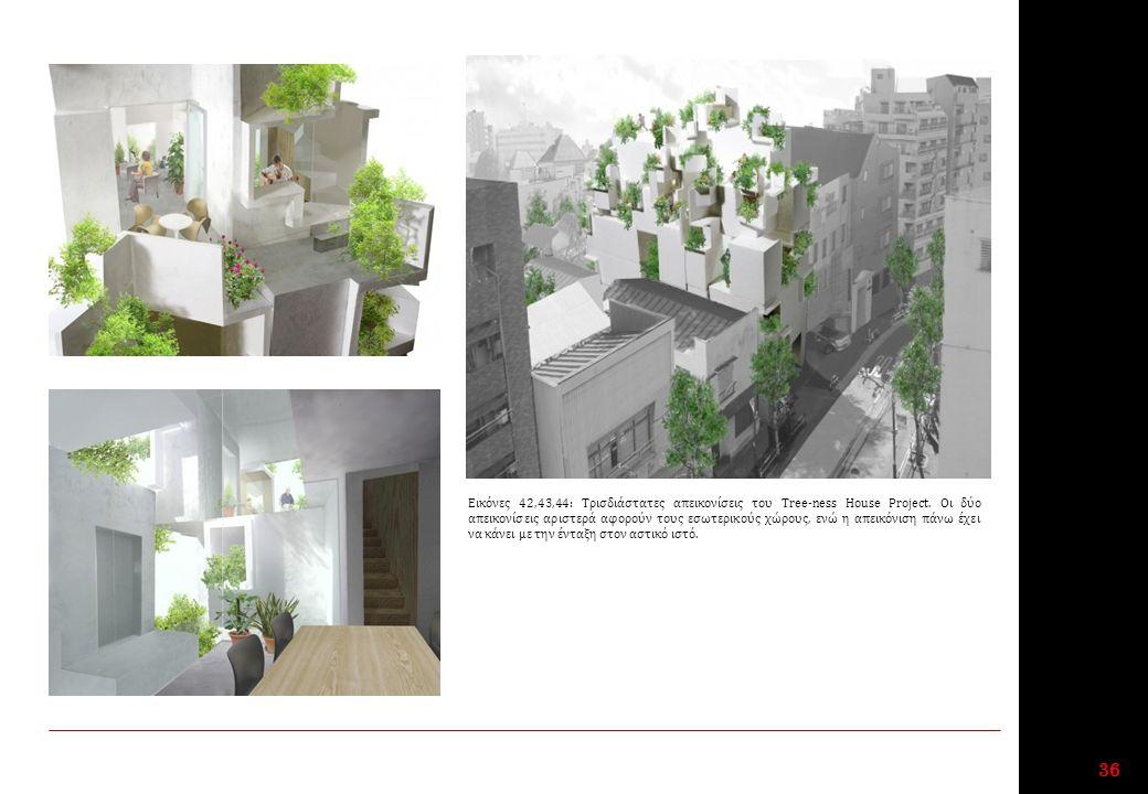 36 Εικόνες 42,43,44: Τρισδιάστατες απεικονίσεις του Tree-ness House Project.