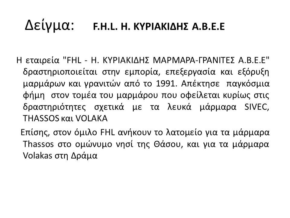 Η εταιρεία FHL - Η.