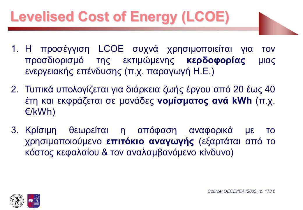 1.Η προσέγγιση LCOE συχνά χρησιμοποιείται για τον προσδιορισμό της εκτιμώμενης κερδοφορίας μιας ενεργειακής επένδυσης (π.χ. παραγωγή Η.Ε.) 2.Τυπικά υπ