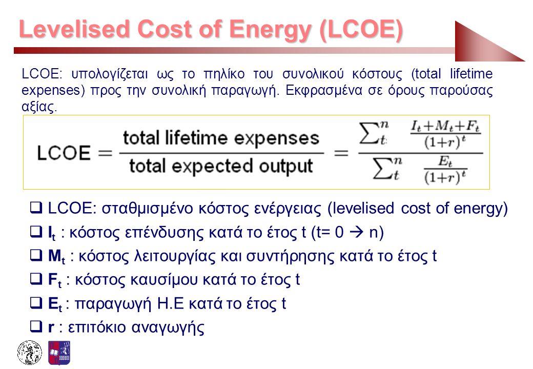 LCOE: υπολογίζεται ως το πηλίκο του συνολικού κόστους (total lifetime expenses) προς την συνολική παραγωγή. Εκφρασμένα σε όρους παρούσας αξίας.  LCOE
