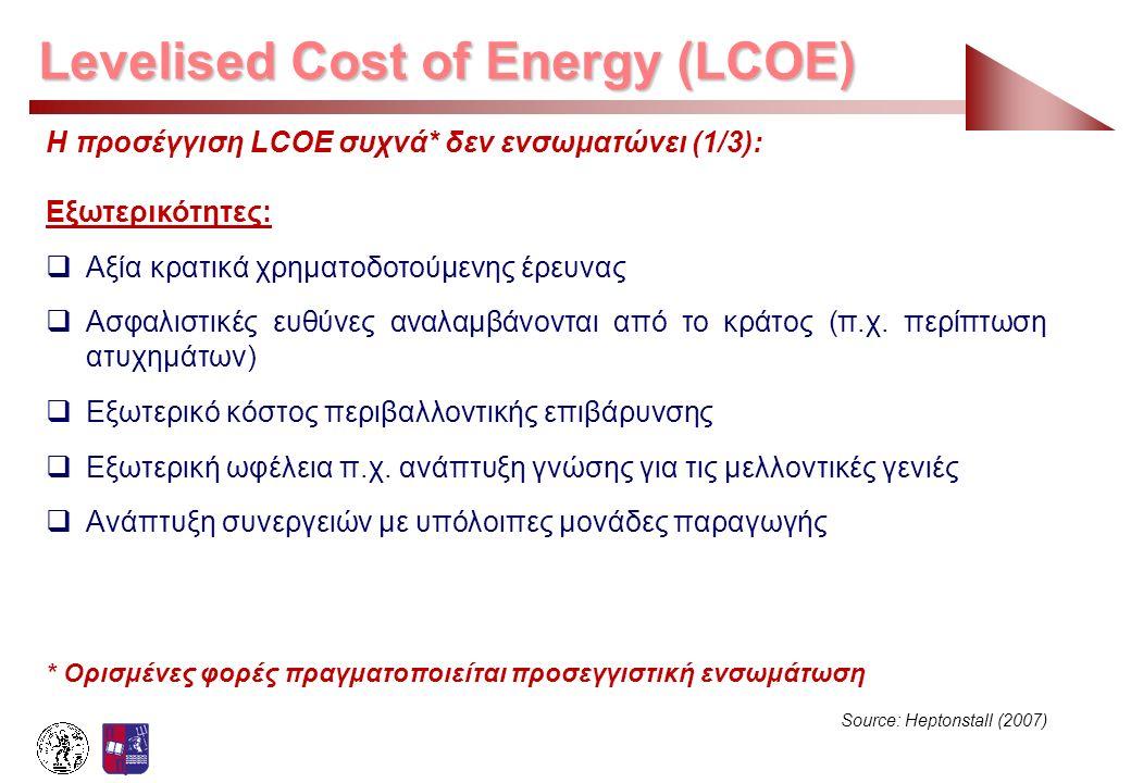 Levelised Cost of Energy (LCOE) Η προσέγγιση LCOE συχνά* δεν ενσωματώνει (1/3): Εξωτερικότητες:  Αξία κρατικά χρηματοδοτούμενης έρευνας  Ασφαλιστικέ