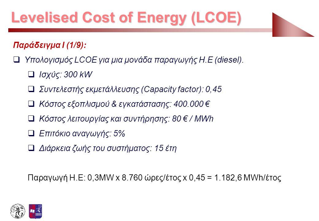 Levelised Cost of Energy (LCOE) Παράδειγμα Ι (1/9):  Υπολογισμός LCOE για μια μονάδα παραγωγής Η.Ε (diesel).  Ισχύς: 300 kW  Συντελεστής εκμετάλλευ