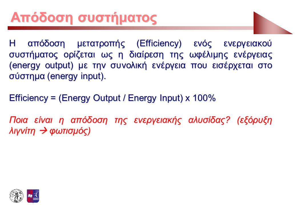 Απόδοση συστήματος Παράδειγμα (σελ 1/2): 1 τόνος άνθρακα ~ 25 GJ πρωτογενούς ενέργειας 2,5% κατανάλωση κατά την εξόρυξη και μεταφορά Συνεπώς η εισερχόμενη ενέργεια στο εργοστάσιο παραγωγής Η.Ε.