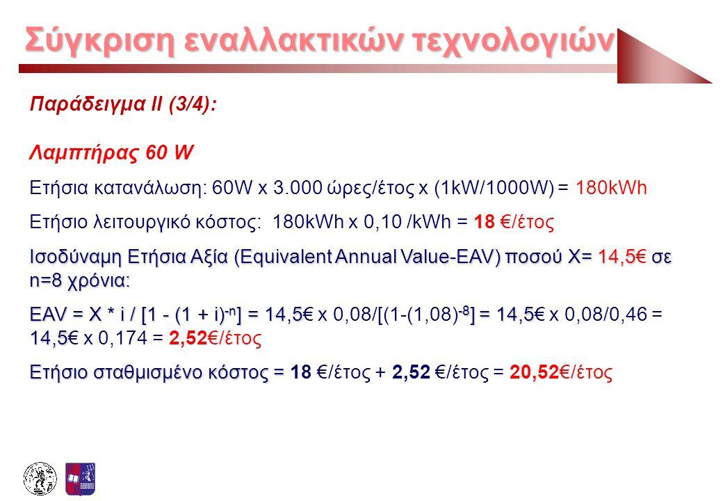 Σύγκριση εναλλακτικών τεχνολογιών Παράδειγμα ΙΙ (3/4): Λαμπτήρας 60 W Ετήσια κατανάλωση: 60W x 3.000 ώρες/έτος x (1kW/1000W) = 180kWh Ετήσιο λειτουργι