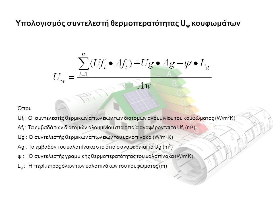 Υπολογισμός συντελεστή θερμοπερατότητας U w κουφωμάτων Όπου Uf i : Οι συντελεστές θερμικών απωλειών των διατομών αλουμινίου του κουφώματος (W/m 2 K) Αf i : Τα εμβαδά των διατομών αλουμινίου στα οποία αναφέρονται τα Uf i (m 2 ) Ug : Ο συντελεστής θερμικών απωλειών του υαλοπίνακα (W/m 2 K) Ag : Το εμβαδόν του υαλοπίνακα στο οποίο αναφέρεται το Ug (m 2 ) ψ : Ο συντελεστής γραμμικής θερμοπερατότητας του υαλοπίνακα (W/mK) L g : Η περίμετρος όλων των υαλοπινάκων του κουφώματος (m)