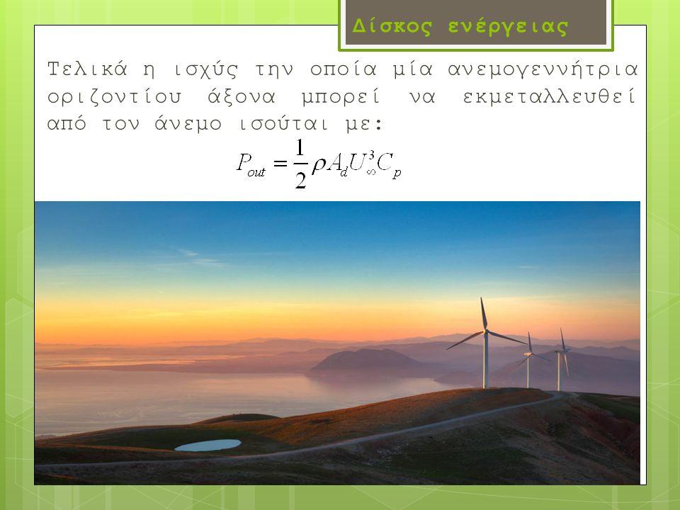 Δίσκος ενέργειας Τελικά η ισχύς την οποία μία ανεμογεννήτρια οριζοντίου άξονα μπορεί να εκμεταλλευθεί από τον άνεμο ισούται με: