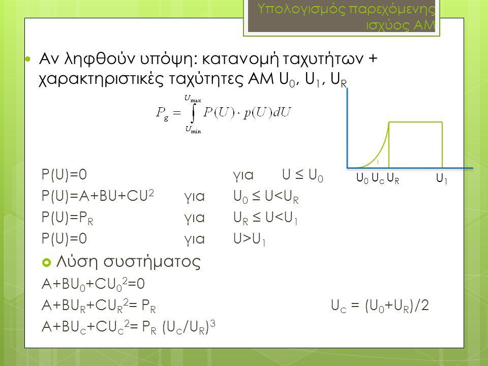 Υπολογισμός παρεχόμενης ισχύος ΑΜ P(U)=0γιαU ≤ U 0 P(U)=A+BU+CU 2 για U 0 ≤ U<U R P(U)=P R για U R ≤ U<U 1 P(U)=0 για U>U 1  Λύση συστήματος A+BU 0 +