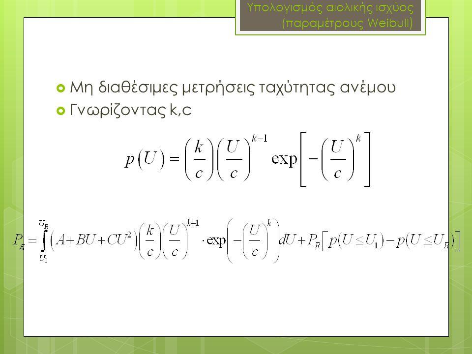 Υπολογισμός αιολικής ισχύος (παραμέτρους Weibull )  Μη διαθέσιμες μετρήσεις ταχύτητας ανέμου  Γνωρίζοντας k,c