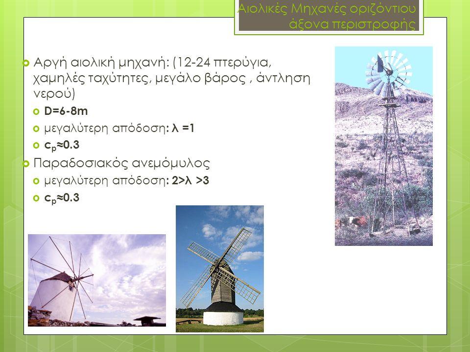 Αιολικές Μηχανές οριζόντιου άξονα περιστροφής  Αργή αιολική μηχανή: (12-24 πτερύγια, χαμηλές ταχύτητες, μεγάλο βάρος, άντληση νερού)  D=6-8m  μεγαλ