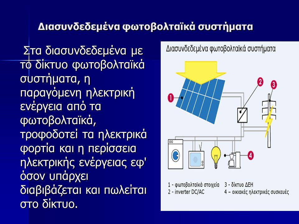 Διασυνδεδεμένα φωτοβολταϊκά συστήματα Στα διασυνδεδεμένα με το δίκτυο φωτοβολταϊκά συστήματα, η παραγόμενη ηλεκτρική ενέργεια από τα φωτοβολταϊκά, τροφοδοτεί τα ηλεκτρικά φορτία και η περίσσεια ηλεκτρικής ενέργειας εφ όσον υπάρχει διαβιβάζεται και πωλείται στο δίκτυο.