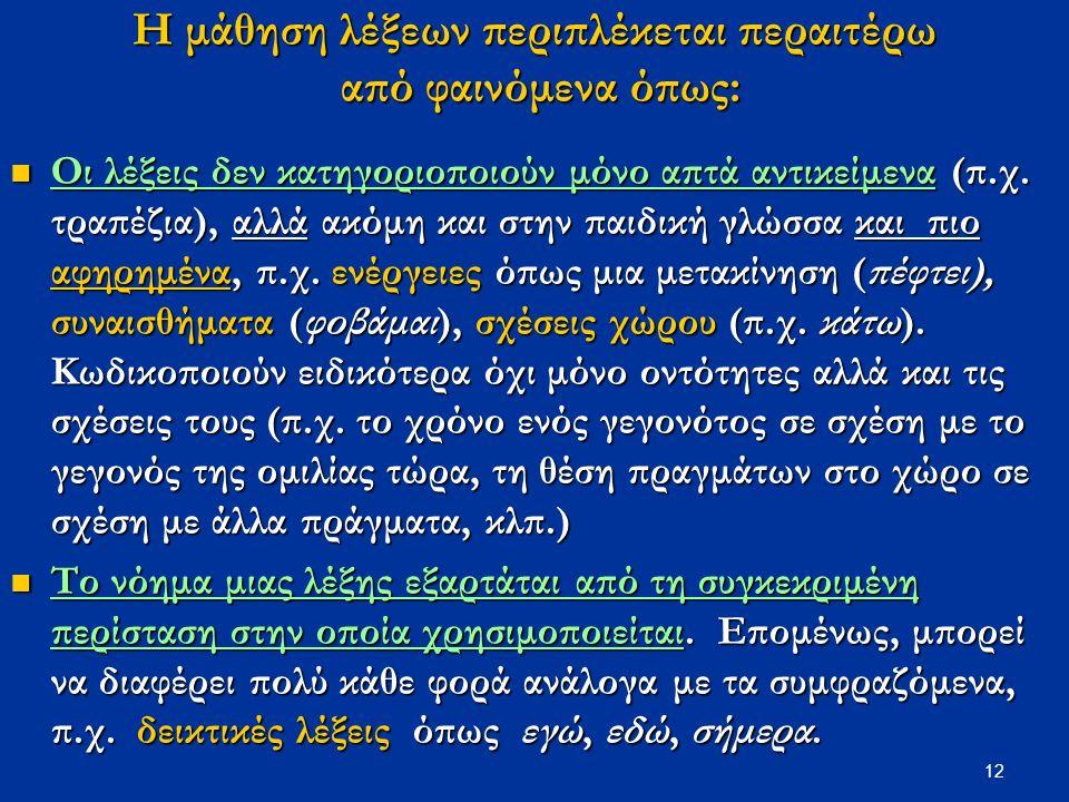 12 Η μάθηση λέξεων περιπλέκεται περαιτέρω από φαινόμενα όπως: Οι λέξεις δεν κατηγοριοποιούν μόνο απτά αντικείμενα (π.χ.