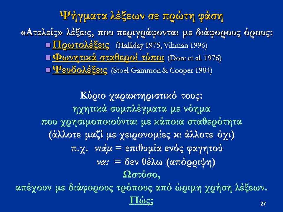 27 Ψήγματα λέξεων σε πρώτη φάση «Ατελείς» λέξεις, που περιγράφονται με διάφορους όρους: Πρωτολέξεις ( Halliday 1975, ) Πρωτολέξεις ( Halliday 1975, Vihman 1996) Φωνητικά σταθεροί τύποι ( Dore et al.