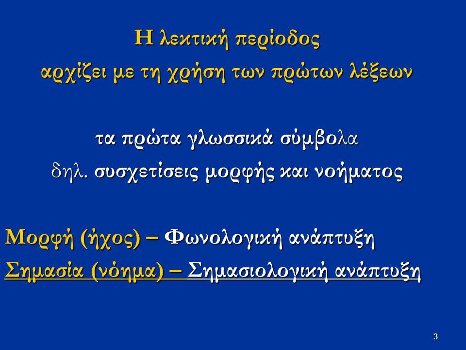 3 Η λεκτική περίοδος αρχίζει με τη χρήση των πρώτων λέξεων τα πρώτα γλωσσικά σύμβολα δηλ.