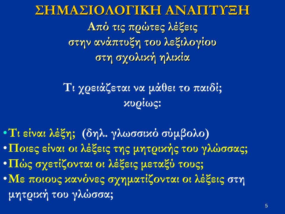 6 Τι είναι οι λέξεις; Γλωσσικά σύμβολα: δηλ.συσχετίσεις ήχου-νοήματος 3 διαστάσεις τους: 1.