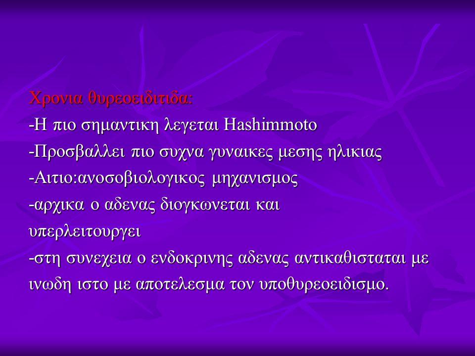 Χρονια θυρεοειδιτιδα: -Η πιο σημαντικη λεγεται Hashimmoto -Προσβαλλει πιο συχνα γυναικες μεσης ηλικιας -Αιτιο:ανοσοβιολογικος μηχανισμος -αρχικα ο αδενας διογκωνεται και υπερλειτουργει -στη συνεχεια ο ενδοκρινης αδενας αντικαθισταται με ινωδη ιστο με αποτελεσμα τον υποθυρεοειδισμο.