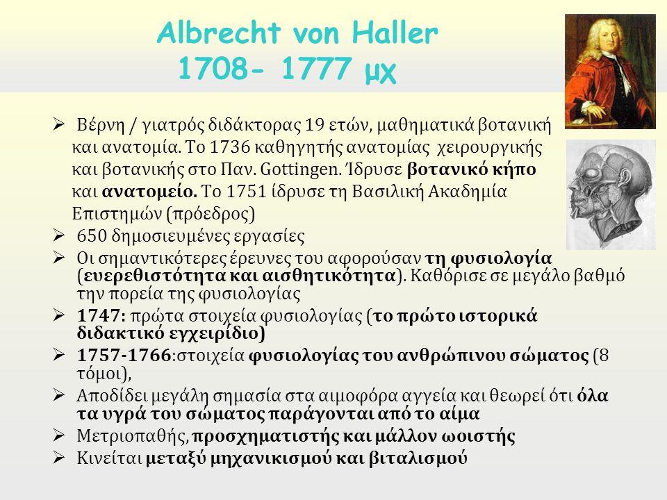  Βέρνη / γιατρός διδάκτορας 19 ετών, μαθηματικά βοτανική και ανατομία. Το 1736 καθηγητής ανατομίας χειρουργικής και βοτανικής στο Παν. Gottingen. Ίδρ