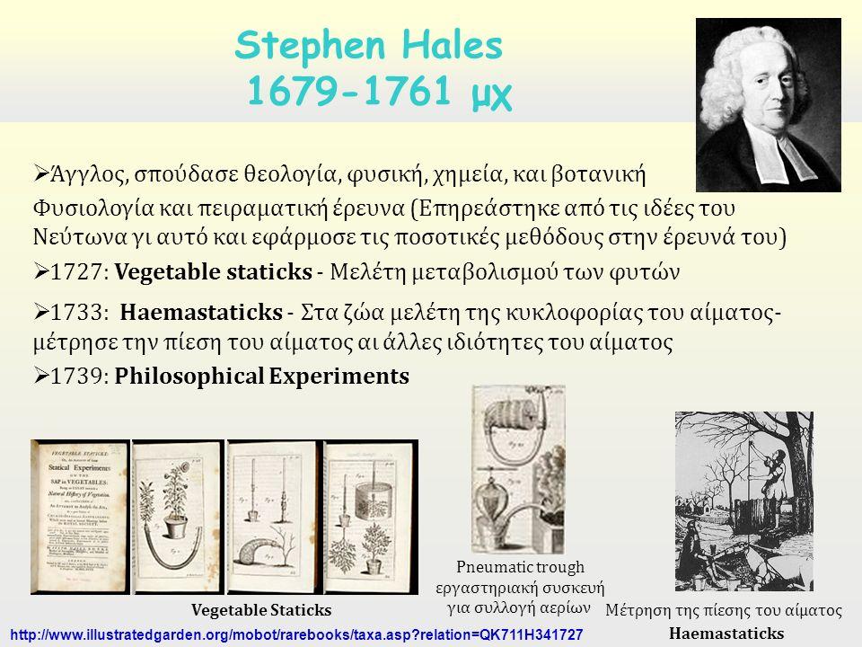 Άγγλος, σπούδασε θεολογία, φυσική, χημεία, και βοτανική Φυσιολογία και πειραματική έρευνα (Επηρεάστηκε από τις ιδέες του Νεύτωνα γι αυτό και εφάρμοσε τις ποσοτικές μεθόδους στην έρευνά του)  1727: Vegetable staticks - Μελέτη μεταβολισμού των φυτών  1733: Haemastaticks - Στα ζώα μελέτη της κυκλοφορίας του αίματος- μέτρησε την πίεση του αίματος αι άλλες ιδιότητες του αίματος  1739: Philosophical Experiments Stephen Hales 1679-1761 μχ Vegetable Staticks http://www.illustratedgarden.org/mobot/rarebooks/taxa.asp relation=QK711H341727 Pneumatic trough εργαστηριακή συσκευή για συλλογή αερίων Μέτρηση της πίεσης του αίματος Haemastaticks
