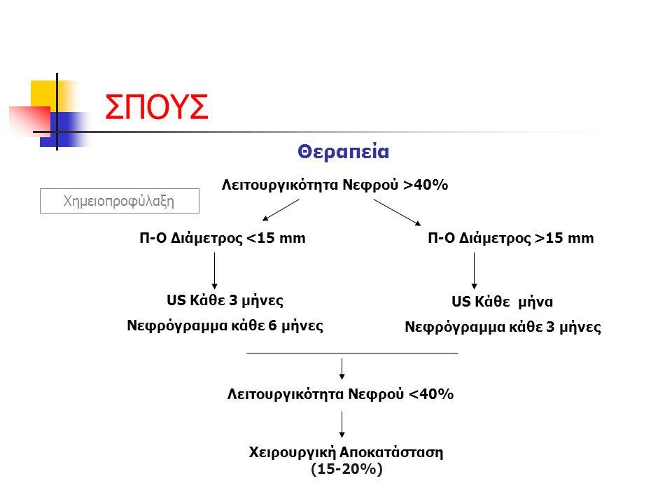 ΣΠΟΥΣ Θεραπεία Λειτουργικότητα Νεφρού >40% Χημειοπροφύλαξη Π-Ο Διάμετρος <15 mmΠ-Ο Διάμετρος >15 mm US Κάθε 3 μήνες Νεφρόγραμμα κάθε 6 μήνες US Κάθε μήνα Νεφρόγραμμα κάθε 3 μήνες Λειτουργικότητα Νεφρού <40% Χειρουργική Αποκατάσταση (15-20%)