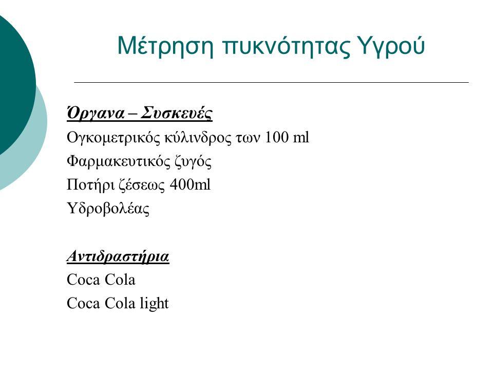 Μέτρηση πυκνότητας Υγρού Όργανα – Συσκευές Ογκομετρικός κύλινδρος των 100 ml Φαρμακευτικός ζυγός Ποτήρι ζέσεως 400ml Υδροβολέας Αντιδραστήρια Coca Cola Coca Cola light