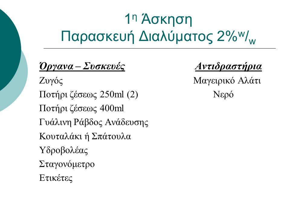1 η Άσκηση Παρασκευή Διαλύματος 2% w / w Όργανα – Συσκευές Αντιδραστήρια Ζυγός Μαγειρικό Αλάτι Ποτήρι ζέσεως 250ml (2) Νερό Ποτήρι ζέσεως 400ml Γυάλινη Ράβδος Ανάδευσης Κουταλάκι ή Σπάτουλα Υδροβολέας Σταγονόμετρο Ετικέτες