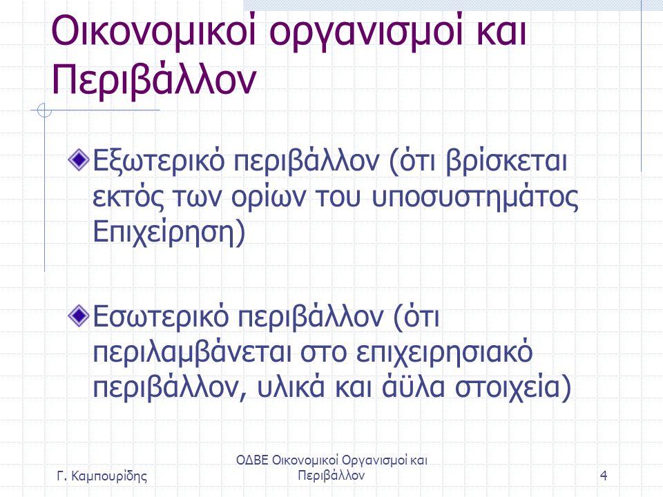 ΟΔΒΕ Οικονομικοί Οργανισμοί και Περιβάλλον4 Οικονομικοί οργανισμοί και Περιβάλλον Εξωτερικό περιβάλλον (ότι βρίσκεται εκτός των ορίων του υποσυστημάτος Επιχείρηση) Εσωτερικό περιβάλλον (ότι περιλαμβάνεται στο επιχειρησιακό περιβάλλον, υλικά και άϋλα στοιχεία) Γ.