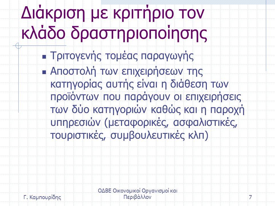 Διάκριση με κριτήριο τον κλάδο δραστηριοποίησης Τριτογενής τομέας παραγωγής Αποστολή των επιχειρήσεων της κατηγορίας αυτής είναι η διάθεση των προϊόντων που παράγουν οι επιχειρήσεις των δύο κατηγοριών καθώς και η παροχή υπηρεσιών (μεταφορικές, ασφαλιστικές, τουριστικές, συμβουλευτικές κλπ) ΟΔΒΕ Οικονομικοί Οργανισμοί και Περιβάλλον7Γ.