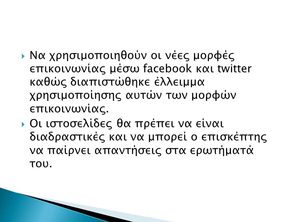  Να χρησιμοποιηθούν οι νέες μορφές επικοινωνίας μέσω facebook και twitter καθώς διαπιστώθηκε έλλειμμα χρησιμοποίησης αυτών των μορφών επικοινωνίας.