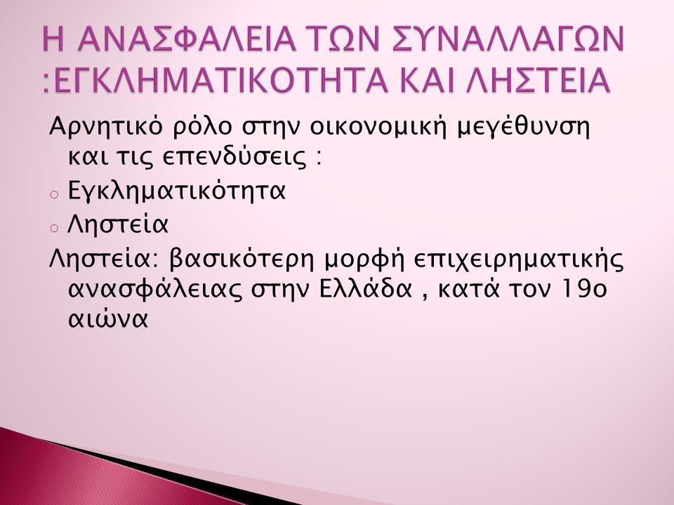 Αρνητικό ρόλο στην οικονομική μεγέθυνση και τις επενδύσεις : o Εγκληματικότητα o Ληστεία Ληστεία: βασικότερη μορφή επιχειρηματικής ανασφάλειας στην Ελλάδα, κατά τον 19ο αιώνα