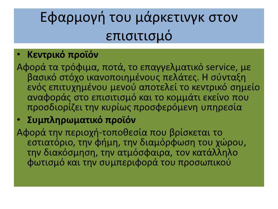 Εφαρμογή του μάρκετινγκ στον επισιτισμό Κεντρικό προϊόν Αφορά τα τρόφιμα, ποτά, το επαγγελματικό service, με βασικό στόχο ικανοποιημένους πελάτες.