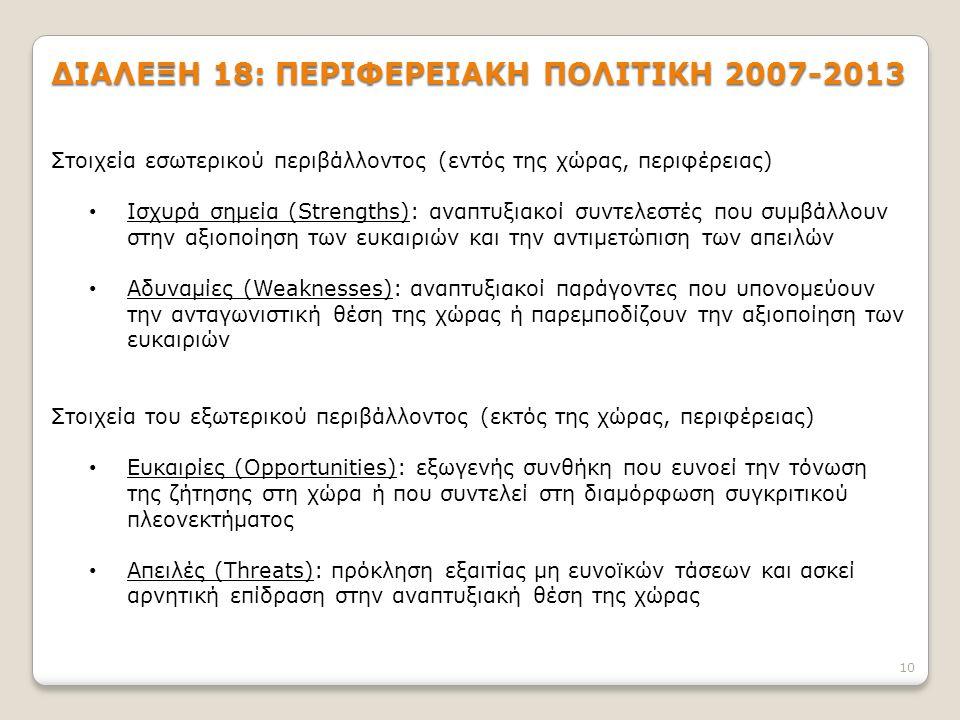 10 ΔΙΑΛΕΞΗ 18: ΠΕΡΙΦΕΡΕΙΑΚΗ ΠΟΛΙΤΙΚΗ 2007-2013 Στοιχεία εσωτερικού περιβάλλοντος (εντός της χώρας, περιφέρειας) Ισχυρά σημεία (Strengths): αναπτυξιακοί συντελεστές που συμβάλλουν στην αξιοποίηση των ευκαιριών και την αντιμετώπιση των απειλών Αδυναμίες (Weaknesses): αναπτυξιακοί παράγοντες που υπονομεύουν την ανταγωνιστική θέση της χώρας ή παρεμποδίζουν την αξιοποίηση των ευκαιριών Στοιχεία του εξωτερικού περιβάλλοντος (εκτός της χώρας, περιφέρειας) Ευκαιρίες (Opportunities): εξωγενής συνθήκη που ευνοεί την τόνωση της ζήτησης στη χώρα ή που συντελεί στη διαμόρφωση συγκριτικού πλεονεκτήματος Απειλές (Threats): πρόκληση εξαιτίας μη ευνοϊκών τάσεων και ασκεί αρνητική επίδραση στην αναπτυξιακή θέση της χώρας