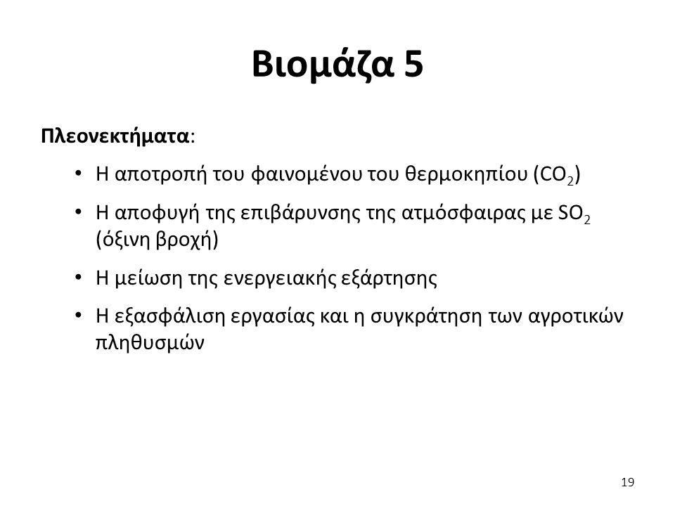 Βιομάζα 5 Πλεονεκτήματα: Η αποτροπή του φαινομένου του θερμοκηπίου (CO 2 ) Η αποφυγή της επιβάρυνσης της ατμόσφαιρας με SO 2 (όξινη βροχή) Η μείωση της ενεργειακής εξάρτησης Η εξασφάλιση εργασίας και η συγκράτηση των αγροτικών πληθυσμών 19