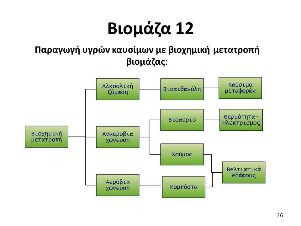 Βιομάζα 12 Παραγωγή υγρών καυσίμων με βιοχημική μετατροπή βιομάζας: 26