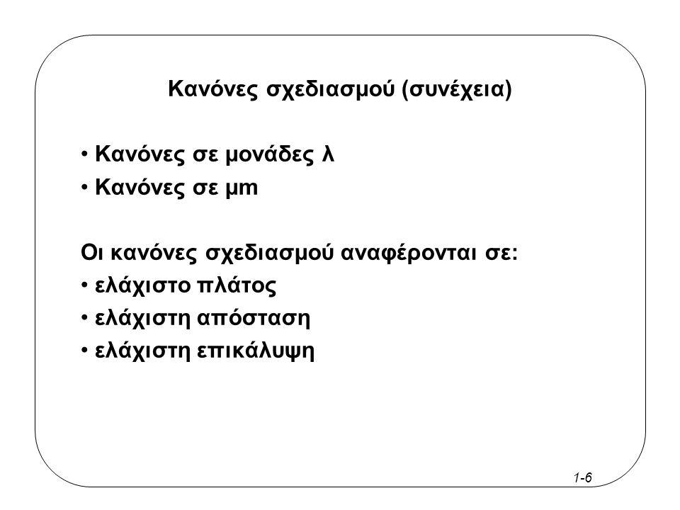 1-6 Κανόνες σχεδιασμού (συνέχεια) Κανόνες σε μονάδες λ Κανόνες σε μm Οι κανόνες σχεδιασμού αναφέρονται σε: ελάχιστο πλάτος ελάχιστη απόσταση ελάχιστη επικάλυψη