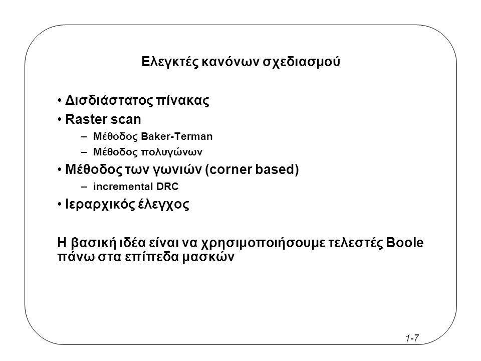 1-7 Ελεγκτές κανόνων σχεδιασμού Δισδιάστατος πίνακας Raster scan –Μέθοδος Baker-Terman –Μέθοδος πολυγώνων Μέθοδος των γωνιών (corner based) –incremental DRC Ιεραρχικός έλεγχος Η βασική ιδέα είναι να χρησιμοποιήσουμε τελεστές Boole πάνω στα επίπεδα μασκών