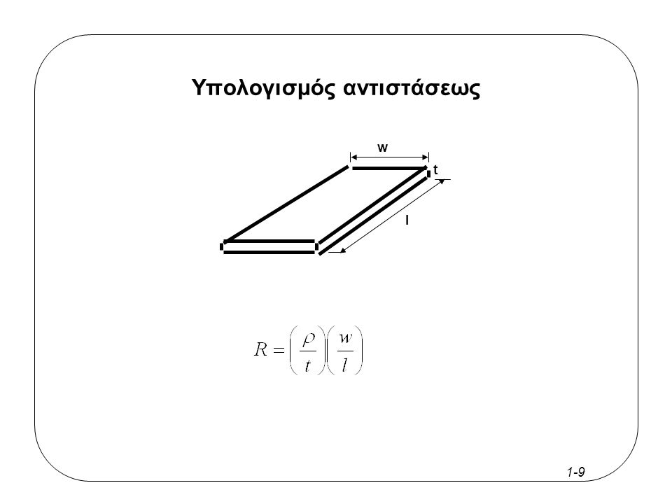 1-8 Εξαγωγή κυκλώματος (Circuit Extraction) Ηλεκτρικές συνδέσεις Δομικά στοιχεία του κυκλώματος Χαρακτηριστικά των κυκλωματικών στοιχείων –χωρητικότητες κόμβων –αντιστάσεις αγωγών –κέρδος των τρανζίστορ –αναγνώριση παρασιτικών Fτρανζίστορ Fαντιστάσεων Fχωρητικοτήτων Fεπαγωγικών στοιχείων