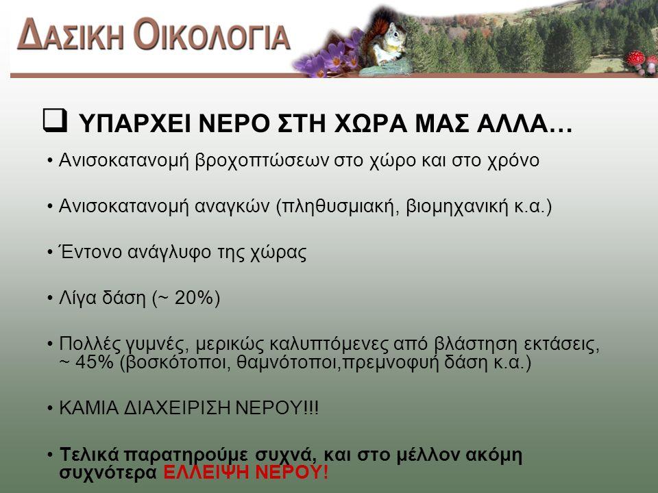  ΥΠΑΡΧΕΙ ΝΕΡΟ ΣΤΗ ΧΩΡΑ ΜΑΣ ΑΛΛΑ… Ανισοκατανομή βροχοπτώσεων στο χώρο και στο χρόνο Ανισοκατανομή αναγκών (πληθυσμιακή, βιομηχανική κ.α.) Έντονο ανάγλυφο της χώρας Λίγα δάση (~ 20%) Πολλές γυμνές, μερικώς καλυπτόμενες από βλάστηση εκτάσεις, ~ 45% (βοσκότοποι, θαμνότοποι,πρεμνοφυή δάση κ.α.) ΚΑΜΙΑ ΔΙΑΧΕΙΡΙΣΗ ΝΕΡΟΥ!!.