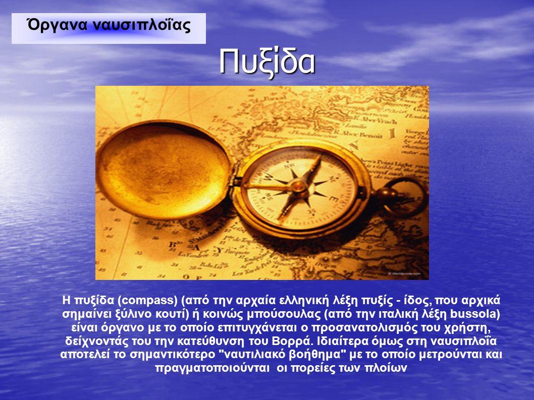 Πυξίδα Η πυξίδα (compass) (από την αρχαία ελληνική λέξη πυξίς - ίδος, που αρχικά σημαίνει ξύλινο κουτί) ή κοινώς μπούσουλας (από την ιταλική λέξη buss
